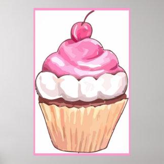 Ilustraciones rosadas del poster de la magdalena -