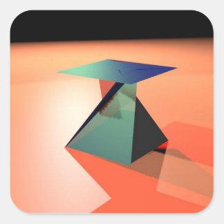 ilustraciones tridimensionales del mezclador pegatina cuadrada