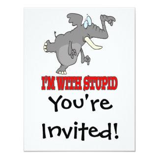 im con el elefante punteagudo divertido estúpido invitación 10,8 x 13,9 cm