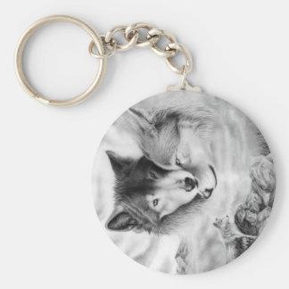 imagen 3-2 del lobo llavero redondo tipo chapa