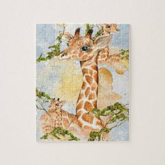 Imagen animal del retrato de la jirafa puzzle