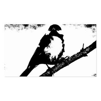 Imagen blanco y negro del pájaro tarjetas de visita