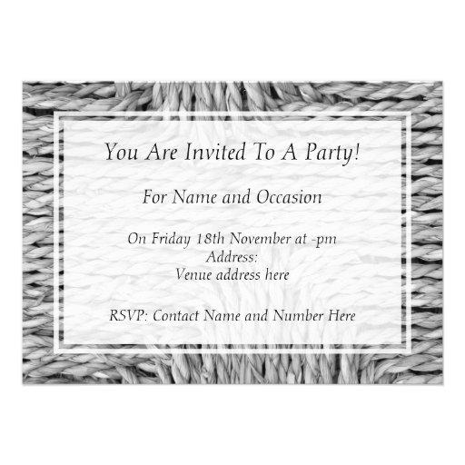 Imagen blanco y negro tejida rústica del modelo invitacion personalizada