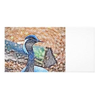 imagen coloreada grúa con cresta del pájaro de la tarjeta fotográfica