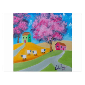 Imagen colorida del arte popular de las ovejas lin tarjeta postal