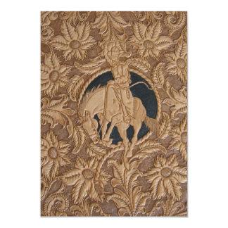 Imagen de cuero equipada personalizado en la invitación 12,7 x 17,8 cm