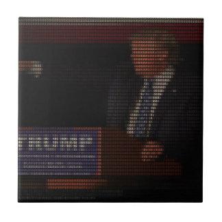 Imagen de Donald Trump hecha de muestras de dólar Azulejo Cuadrado Pequeño