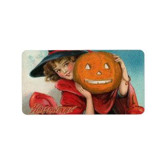 Imagen de Halloween del vintage en una etiqueta de Etiquetas De Dirección