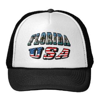 Imagen de la Florida y texto de la bandera de los Gorros Bordados