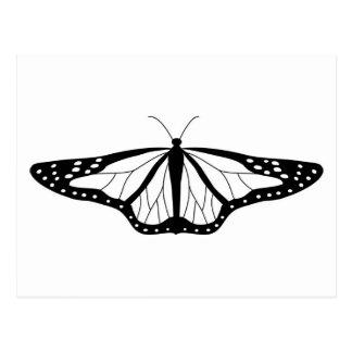 Imagen de la mariposa en blanco y negro postal