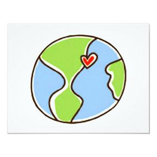 ¡Imagen de la tierra del planeta! Invitación 10,8 X 13,9 Cm