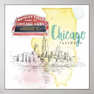 Imagen del bosquejo de la acuarela de Chicago, Póster
