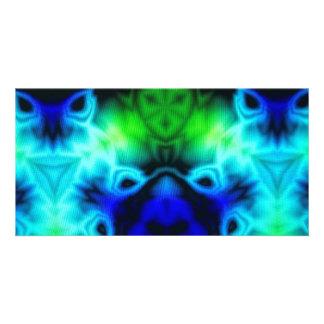 Imagen del caleidoscopio del verde azul y del tarjeta
