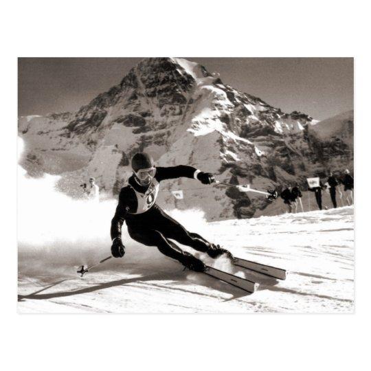 Imagen del esquí del vintage, raza de Lauberhorn Postal