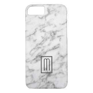 Imagen del monograma de mármol blanco y gris de la funda iPhone 7