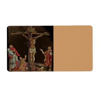 Imagen del salterio - crucifixión etiquetas de envío