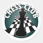 Imagen del tablero de ajedrez del jugador de club pegatinas redondas
