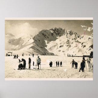 Imagen del vintage, Francia, Superbagneres, esquia Poster