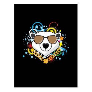 Imagen divertida del oso polar del hip-hop postal