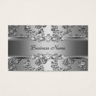 Imagen grabada en relieve plata con clase elegante tarjeta de visita