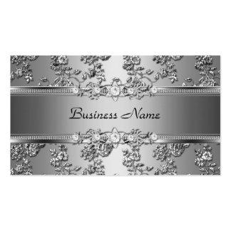 Imagen grabada en relieve plata con clase elegante plantilla de tarjeta personal