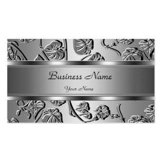Imagen grabada en relieve plata con clase elegante tarjetas de visita
