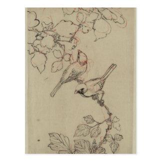 Imagen japonesa de los pájaros del vintage postal