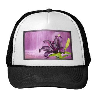Imagen púrpura de la flor gorros bordados