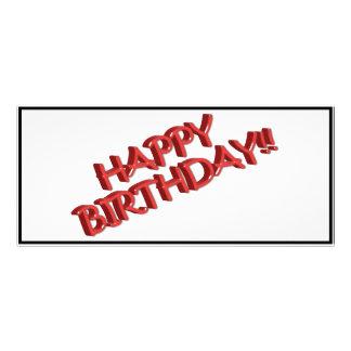 Imagen roja vidriosa del texto del feliz cumpleaño