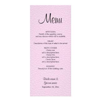 Imagen rosada del cuero casando el menú tarjeta publicitaria a todo color