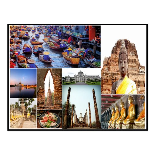 Imágenes coloridas del collage del templo de postal