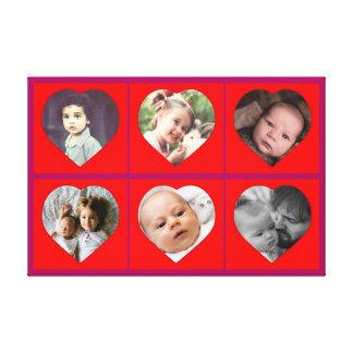 Imágenes en forma de corazón de la familia lienzo