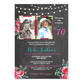 Imágenes florales del cumpleaños de la foto las invitación 12,7 x 17,8 cm
