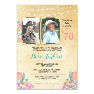 Imágenes florales del rosa de la fiesta de invitación 12,7 x 17,8 cm