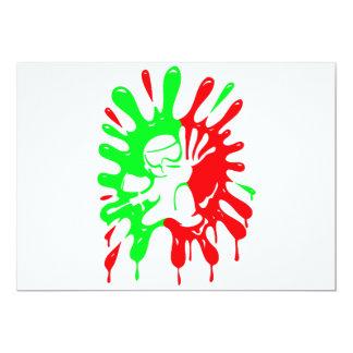 Imágenes verdes y rojas de la salpicadura y de la invitación 12,7 x 17,8 cm