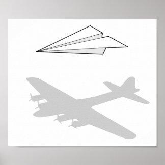 Imaginación activa del aeroplano de papel póster