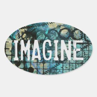 IMAGÍNESE al pegatina oval en fondo sucio pintado