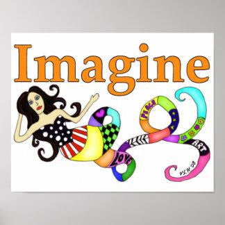 Imagínese el arte de la sirena póster