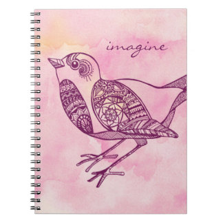 """""""Imagínese"""" el cuaderno del pájaro en acuarela"""