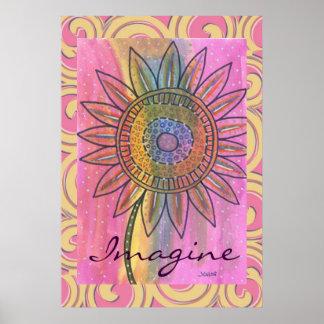 Imagínese el poster de la flor del teñido anudado
