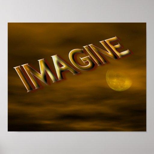 Imagínese el poster inspirado del cielo de la luna
