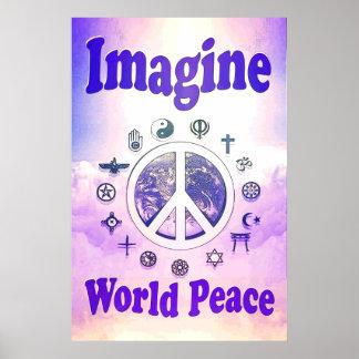 Imagínese la paz de mundo posters