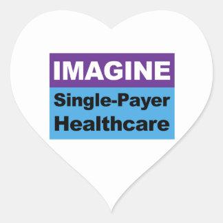 Imagínese la sola atención sanitaria del pagador pegatina en forma de corazón