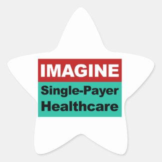 Imagínese la sola atención sanitaria del pagador pegatina en forma de estrella