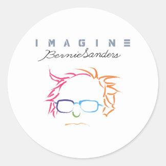 Imagínese las chorreadoras de Bernie Pegatina Redonda