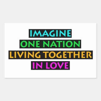 Imagínese una nación el vivir junto en amor pegatina rectangular