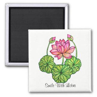 Imán Acuarela Lotus rosado con los brotes y las hojas