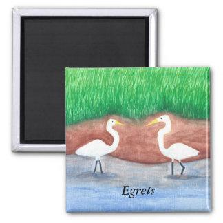 Imán Acuarela que pinta dos Egrets blancos que vadean