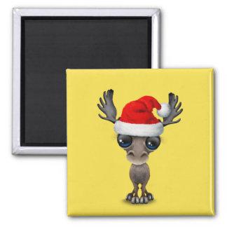 Imán Alces del bebé que llevan un gorra de Santa