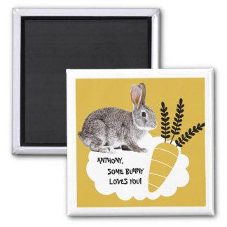Imán Algún conejito le ama. Imanes del regalo de Pascua